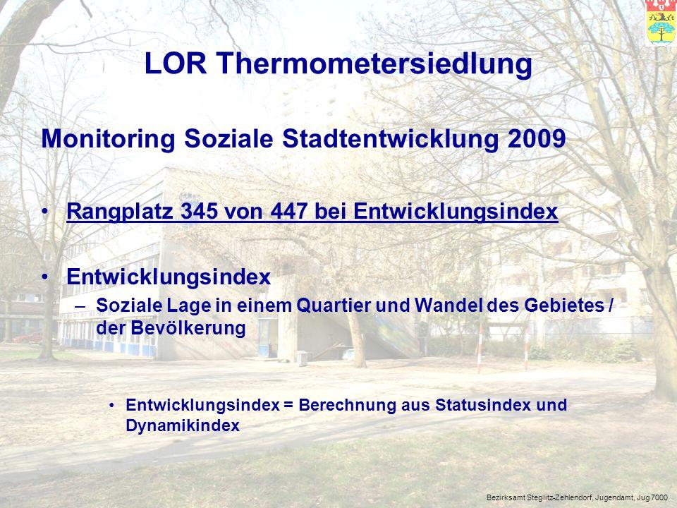Bezirksamt Steglitz-Zehlendorf, Jugendamt, Jug 7000 LOR Thermometersiedlung Sozialstrukturatlas Berlin 2008 Sozialindex I = Rang 319 von 417 –soziale und gesundheitliche Problemlagen (S.