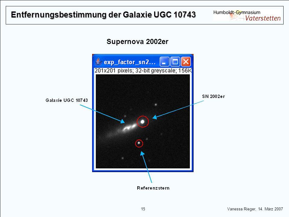 15 Vanessa Rieger, 14. März 2007 Entfernungsbestimmung der Galaxie UGC 10743 Supernova 2002er