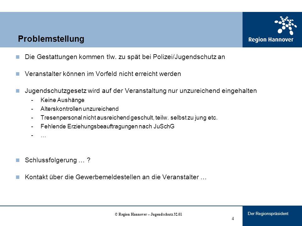 Der Regionspräsident 4 Problemstellung Die Gestattungen kommen tlw.