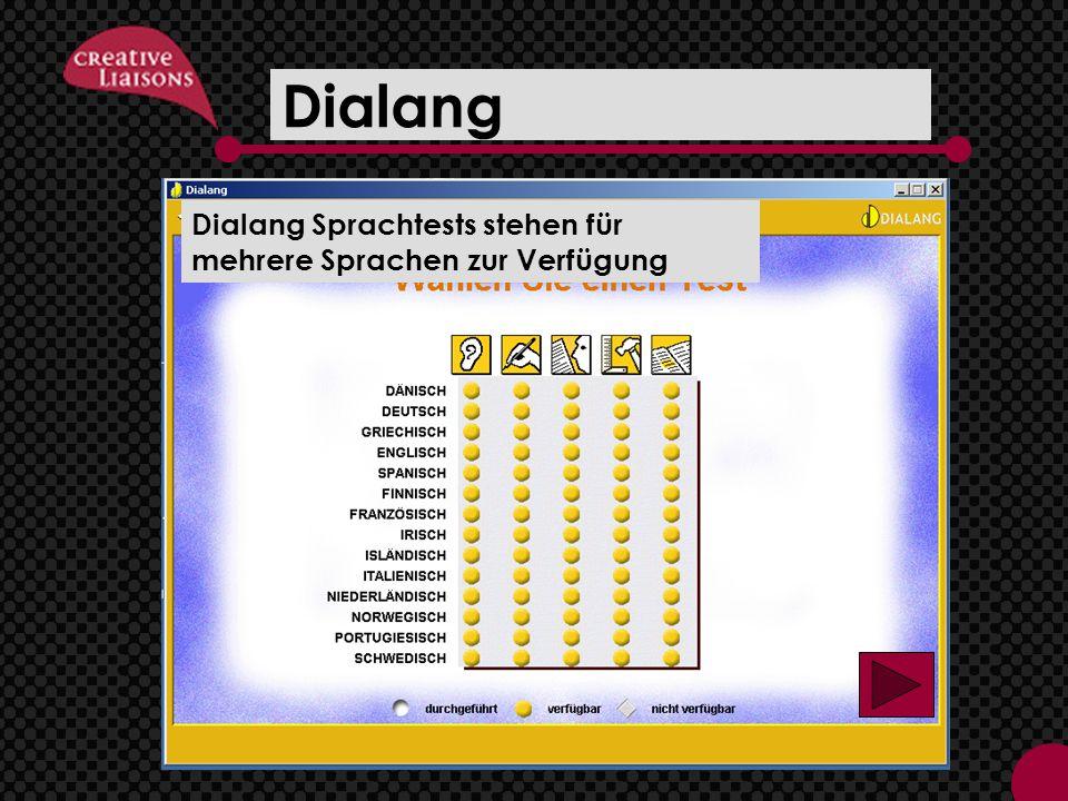 Dialang Downloadable Anwendung zur Einschätzung – www.dialang.org, Link unter www.mehralssprache.eu Dialang Sprachtests stehen für mehrere Sprachen zur Verfügung