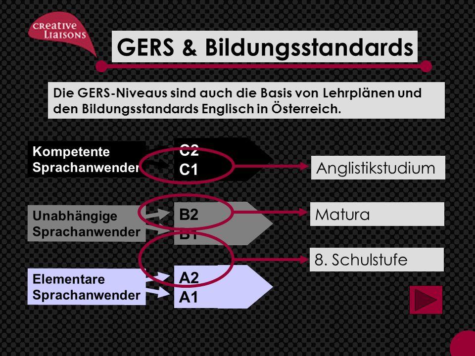 C2 C1 B2 B1 A2 A1 Kompetente Sprachanwender Unabhängige Sprachanwender Elementare Sprachanwender GERS & Bildungsstandards 8.