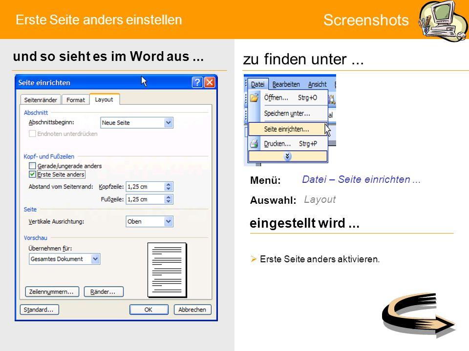 Format Ü1 zu finden unter...Screenshots eingestellt wird...