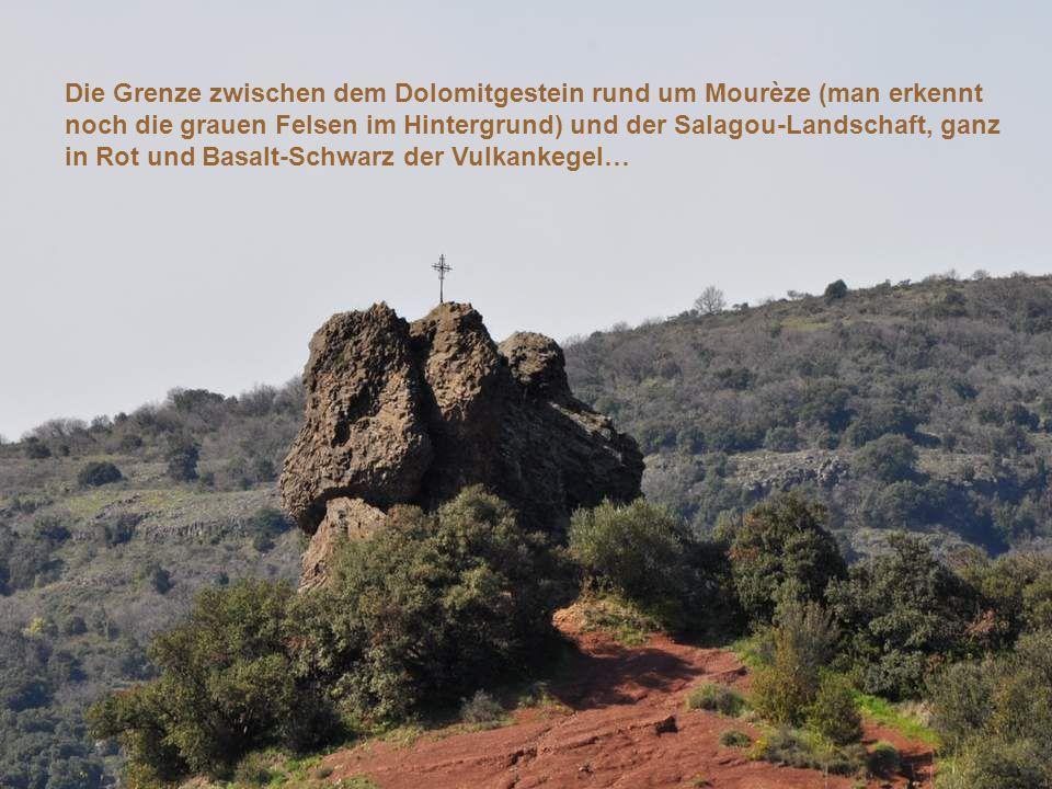 Die Grenze zwischen dem Dolomitgestein rund um Mourèze (man erkennt noch die grauen Felsen im Hintergrund) und der Salagou-Landschaft, ganz in Rot und Basalt-Schwarz der Vulkankegel…