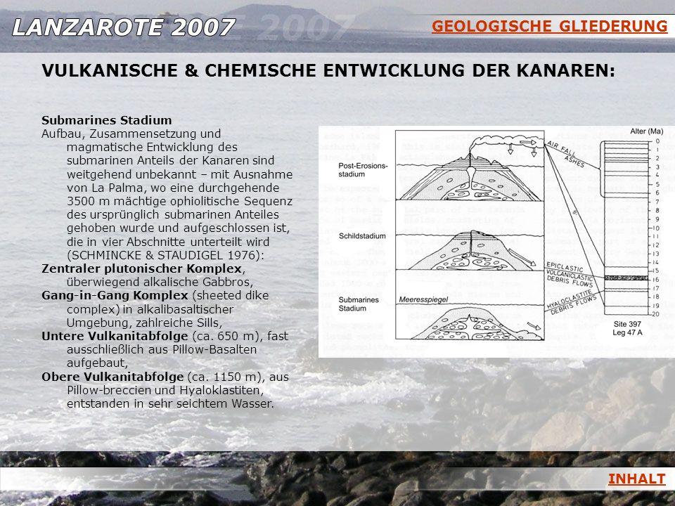 GEOLOGISCHE GLIEDERUNG INHALT VULKANISCHE & CHEMISCHE ENTWICKLUNG DER KANAREN: Submarines Stadium Aufbau, Zusammensetzung und magmatische Entwicklung
