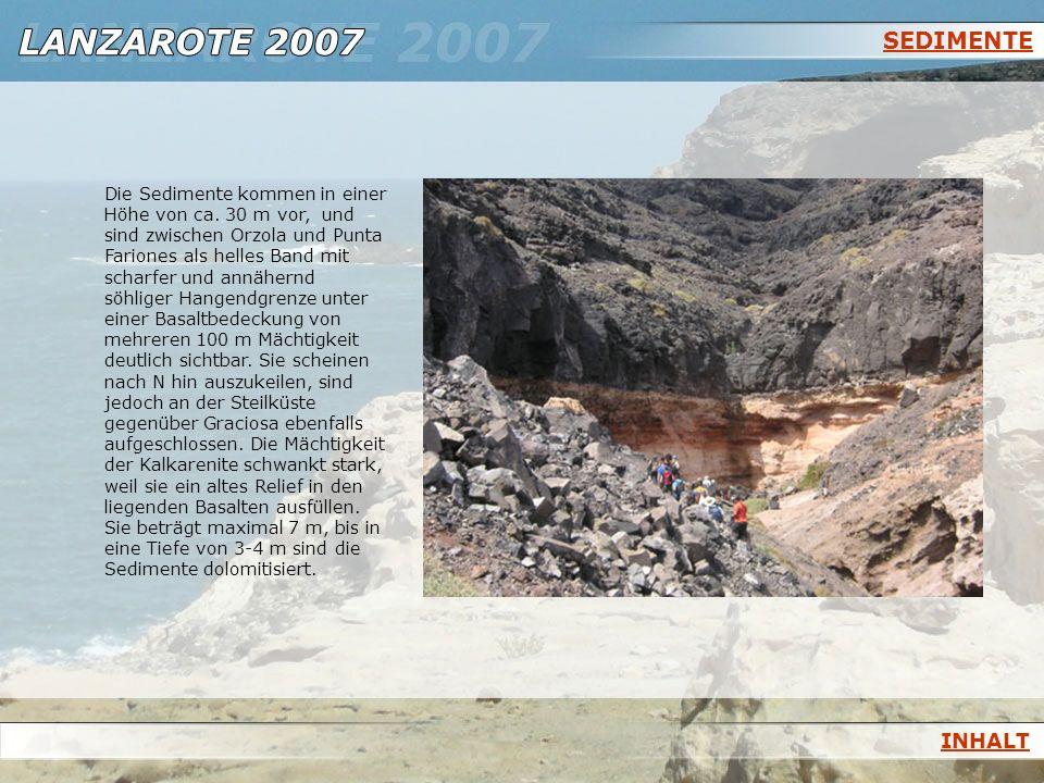 SEDIMENTE Die Sedimente kommen in einer Höhe von ca. 30 m vor, und sind zwischen Orzola und Punta Fariones als helles Band mit scharfer und annähernd