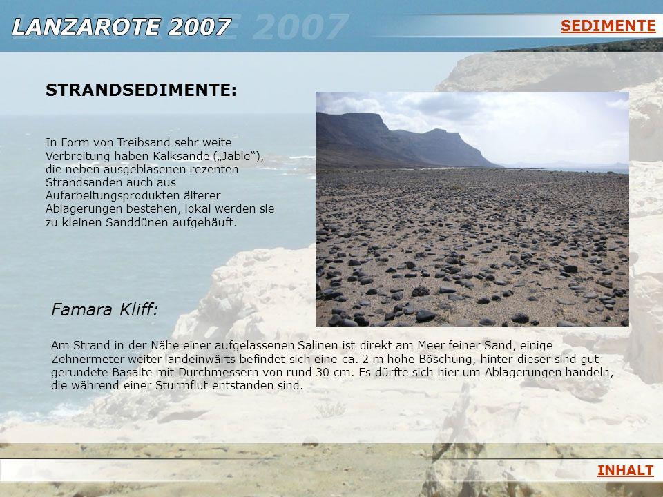 SEDIMENTE STRANDSEDIMENTE: In Form von Treibsand sehr weite Verbreitung haben Kalksande (Jable), die neben ausgeblasenen rezenten Strandsanden auch au