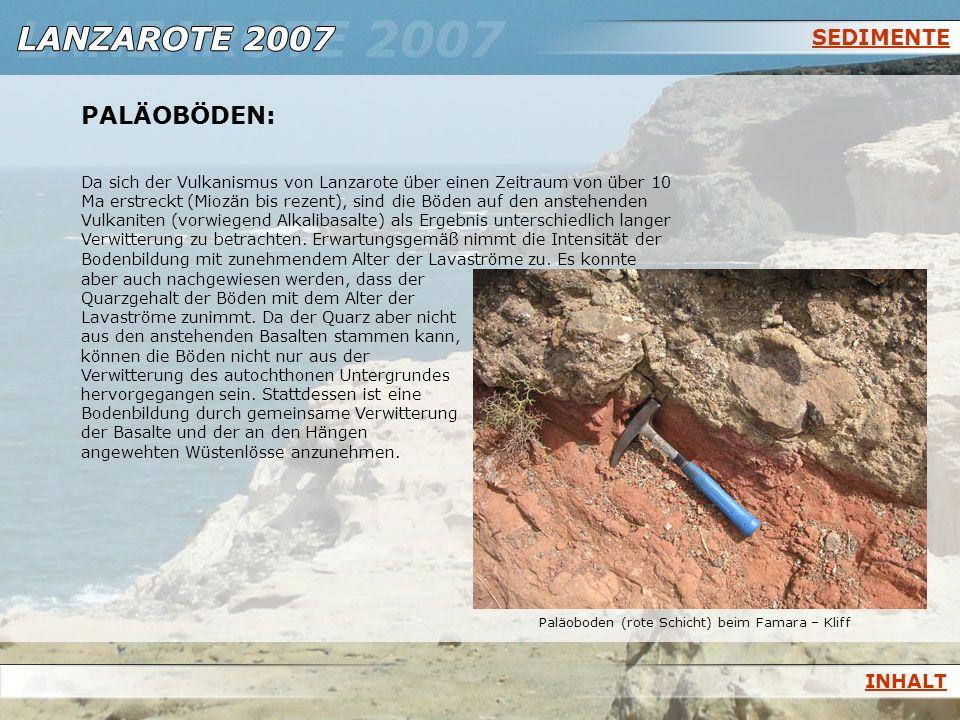 SEDIMENTE PALÄOBÖDEN: Da sich der Vulkanismus von Lanzarote über einen Zeitraum von über 10 Ma erstreckt (Miozän bis rezent), sind die Böden auf den a