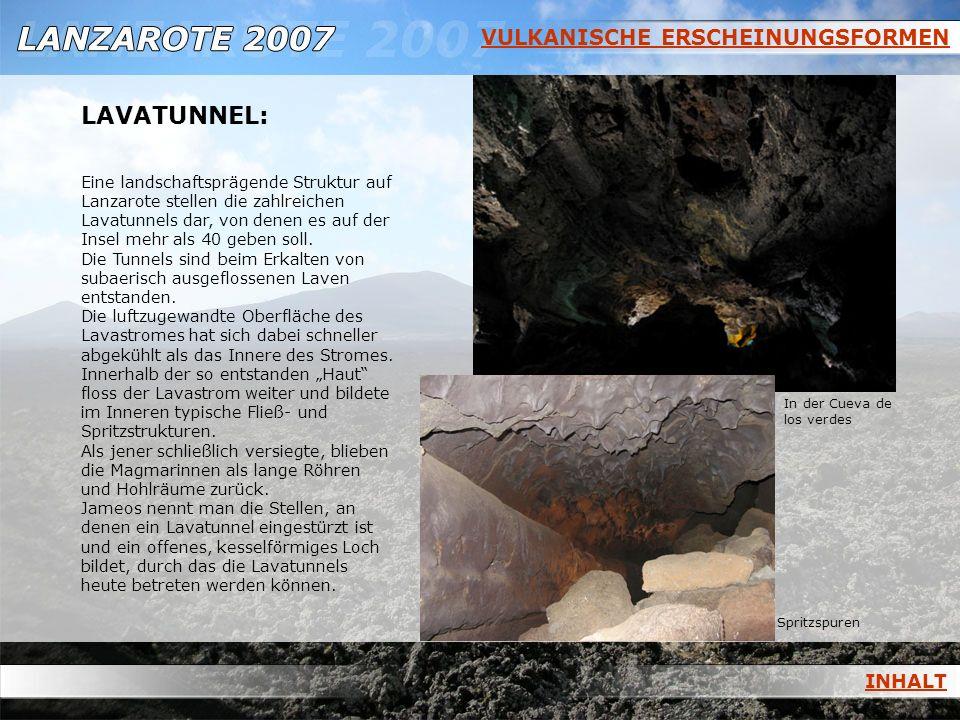 VULKANISCHE ERSCHEINUNGSFORMEN LAVATUNNEL: Eine landschaftsprägende Struktur auf Lanzarote stellen die zahlreichen Lavatunnels dar, von denen es auf d
