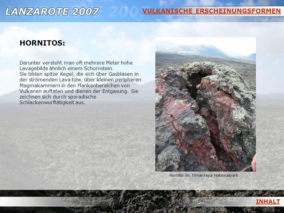 VULKANISCHE ERSCHEINUNGSFORMEN HORNITOS: Darunter versteht man oft mehrere Meter hohe Lavagebilde ähnlich einem Schornstein. Sie bilden spitze Kegel,