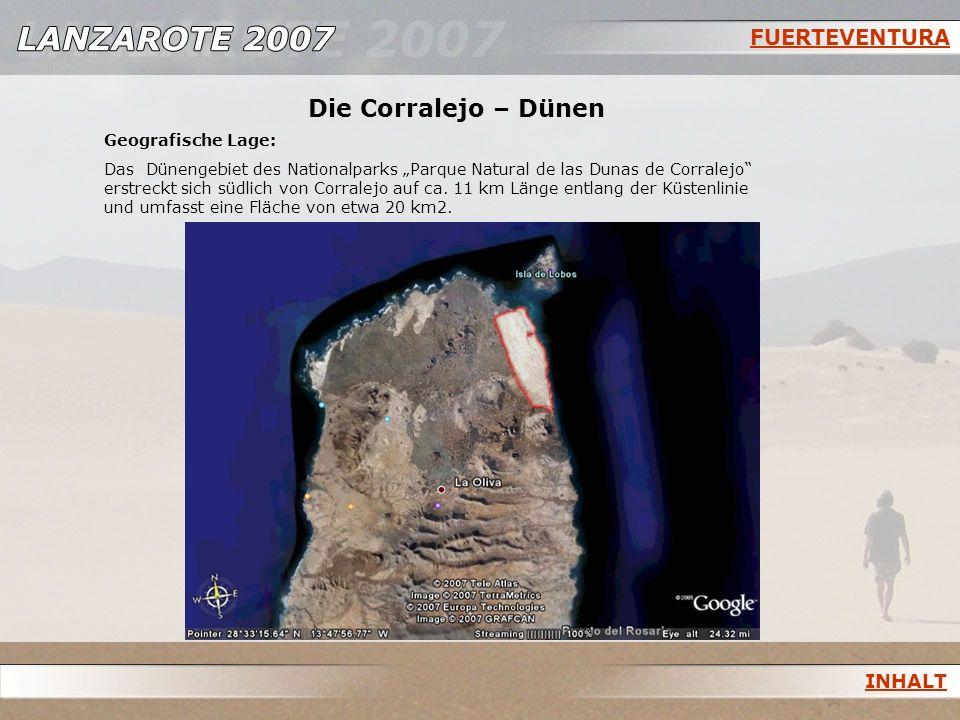 FUERTEVENTURA Die Corralejo – Dünen Geografische Lage: Das Dünengebiet des Nationalparks Parque Natural de las Dunas de Corralejo erstreckt sich südli