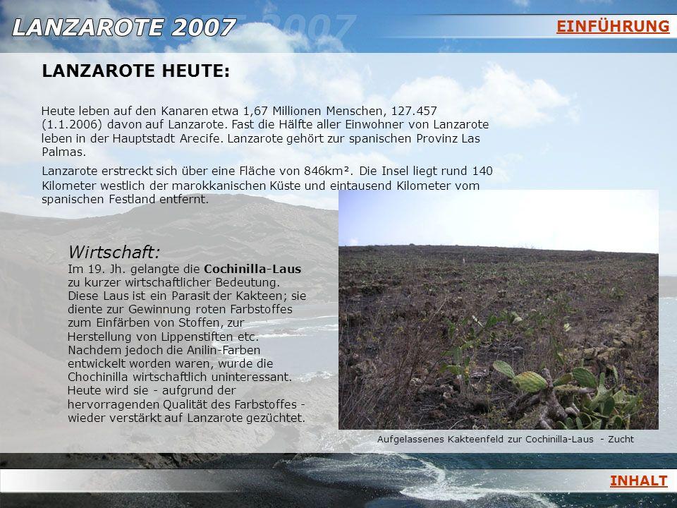 EINFÜHRUNG LANZAROTE HEUTE: Heute leben auf den Kanaren etwa 1,67 Millionen Menschen, 127.457 (1.1.2006) davon auf Lanzarote. Fast die Hälfte aller Ei