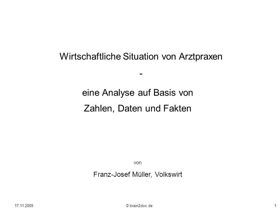 17.11.2009 © brain2doc.de1 Wirtschaftliche Situation von Arztpraxen - eine Analyse auf Basis von Zahlen, Daten und Fakten von Franz-Josef Müller, Volk