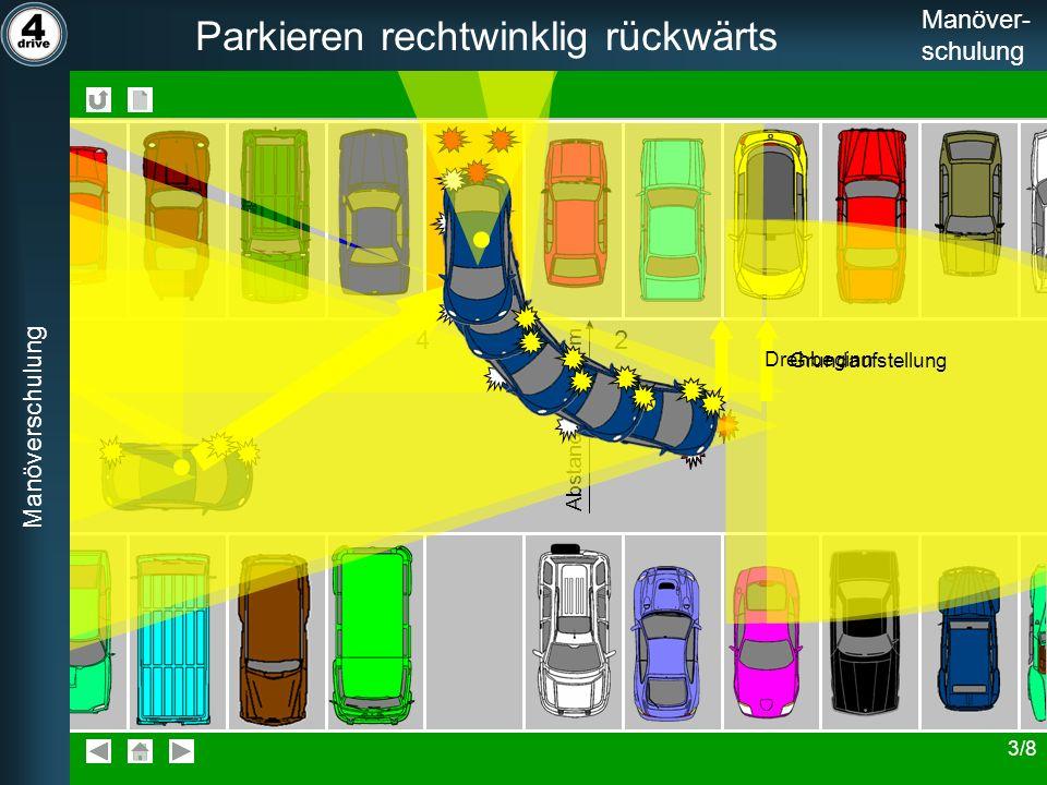 Manöverschulung Parkieren rechtwinklig rückwärts Manöver- schulung 4321 Abstand 2 m - 2,5 m Manöverschulung Parkieren rechtwinklig rückwärts Manöver-