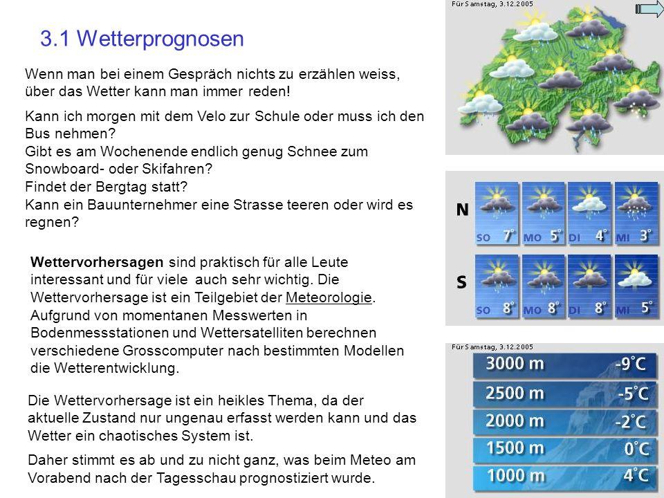 3.1 Wetterprognosen Wenn man bei einem Gespräch nichts zu erzählen weiss, über das Wetter kann man immer reden! Kann ich morgen mit dem Velo zur Schul
