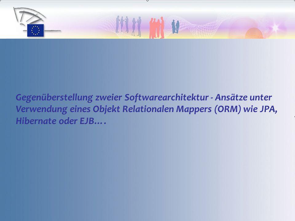 Gegenüberstellung zweier Softwarearchitektur - Ansätze unter Verwendung eines Objekt Relationalen Mappers (ORM) wie JPA, Hibernate oder EJB….