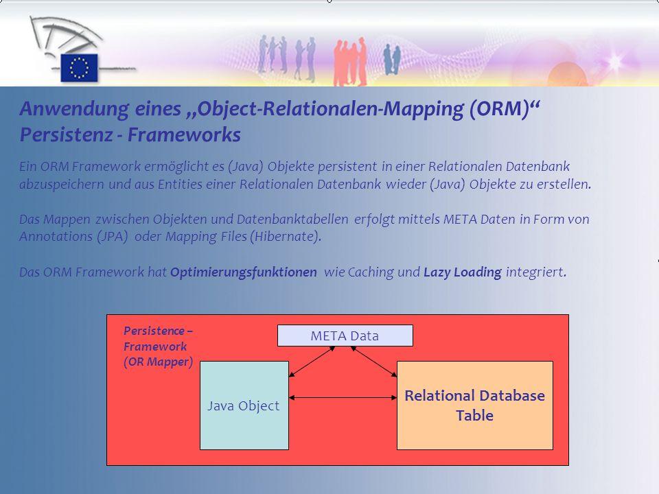 7 Anwendung eines Object-Relationalen-Mapping (ORM) Persistenz - Frameworks Ein ORM Framework ermöglicht es (Java) Objekte persistent in einer Relationalen Datenbank abzuspeichern und aus Entities einer Relationalen Datenbank wieder (Java) Objekte zu erstellen.