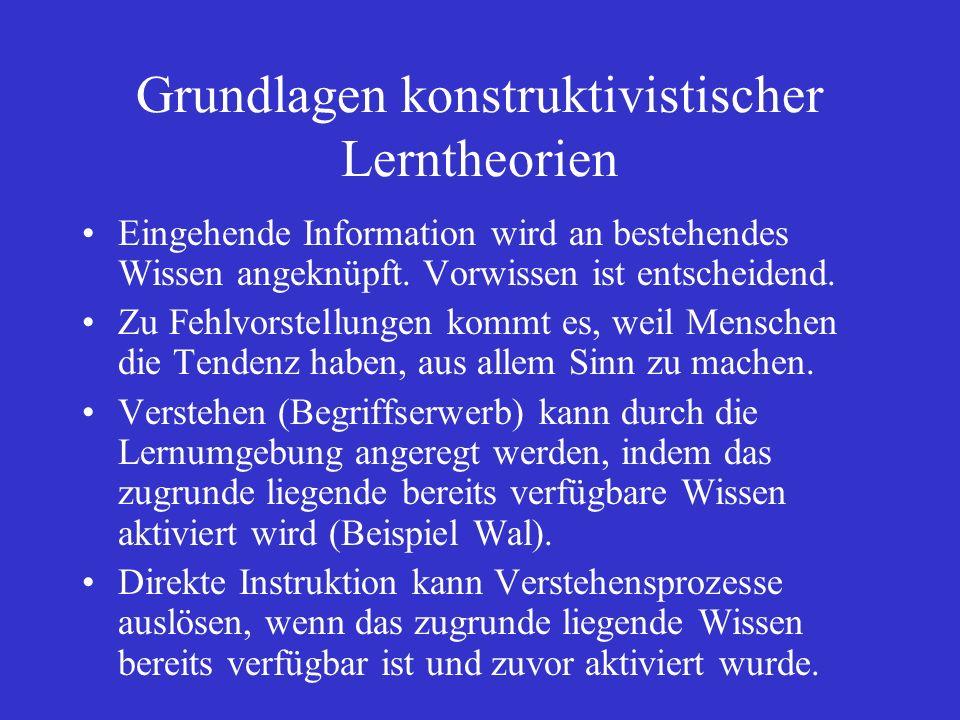 Grundlagen konstruktivistischer Lerntheorien Eingehende Information wird an bestehendes Wissen angeknüpft.