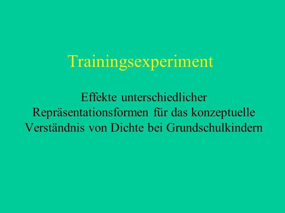 Trainingsexperiment Effekte unterschiedlicher Repräsentationsformen für das konzeptuelle Verständnis von Dichte bei Grundschulkindern