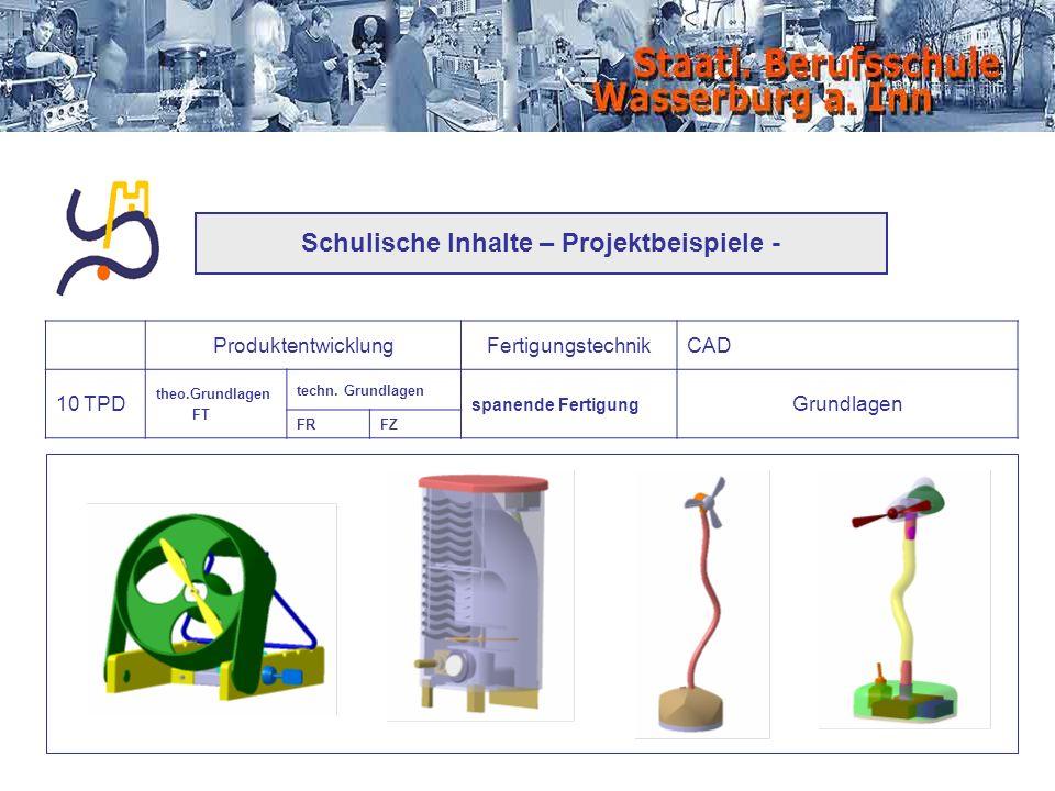 Schulische Inhalte – Projektbeispiele - ProduktentwicklungFertigungstechnikCAD 10 TPD theo.Grundlagen FT techn. Grundlagen spanende Fertigung Grundlag
