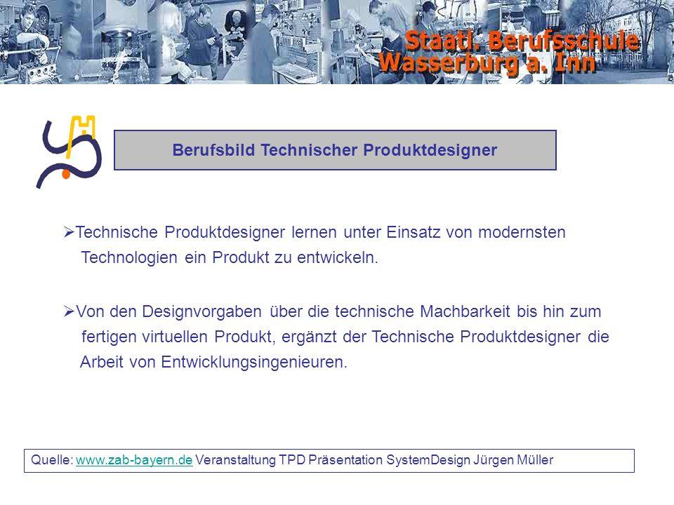 Quelle: www.zab-bayern.de Veranstaltung TPD Präsentation SystemDesign Jürgen Müllerwww.zab-bayern.de Berufsbild Technischer Produktdesigner Technische