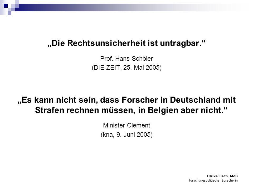 Ulrike Flach, MdB forschungspolitische Sprecherin Die Rechtsunsicherheit ist untragbar.