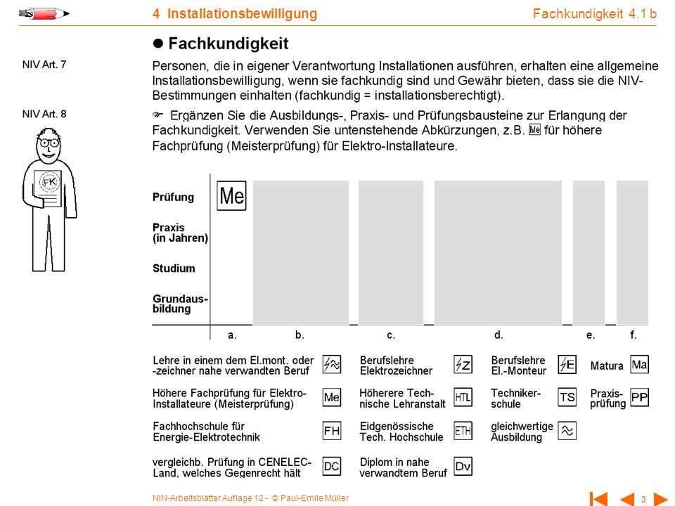NIN-Arbeitsblätter Auflage 12 - © Paul-Emile Müller 3 4 Installationsbewilligung Fachkundigkeit 4.1 b