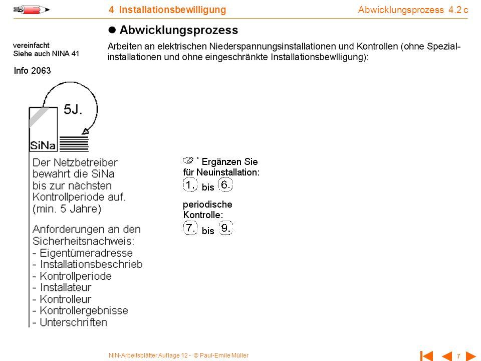 NIN-Arbeitsblätter Auflage 12 - © Paul-Emile Müller 7 4 Installationsbewilligung Abwicklungsprozess 4.2 c
