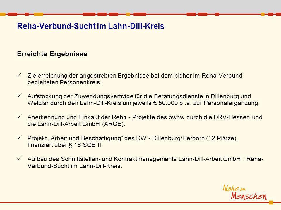 Reha-Verbund-Sucht im Lahn-Dill-Kreis Erreichte Ergebnisse Zielerreichung der angestrebten Ergebnisse bei dem bisher im Reha-Verbund begleiteten Perso