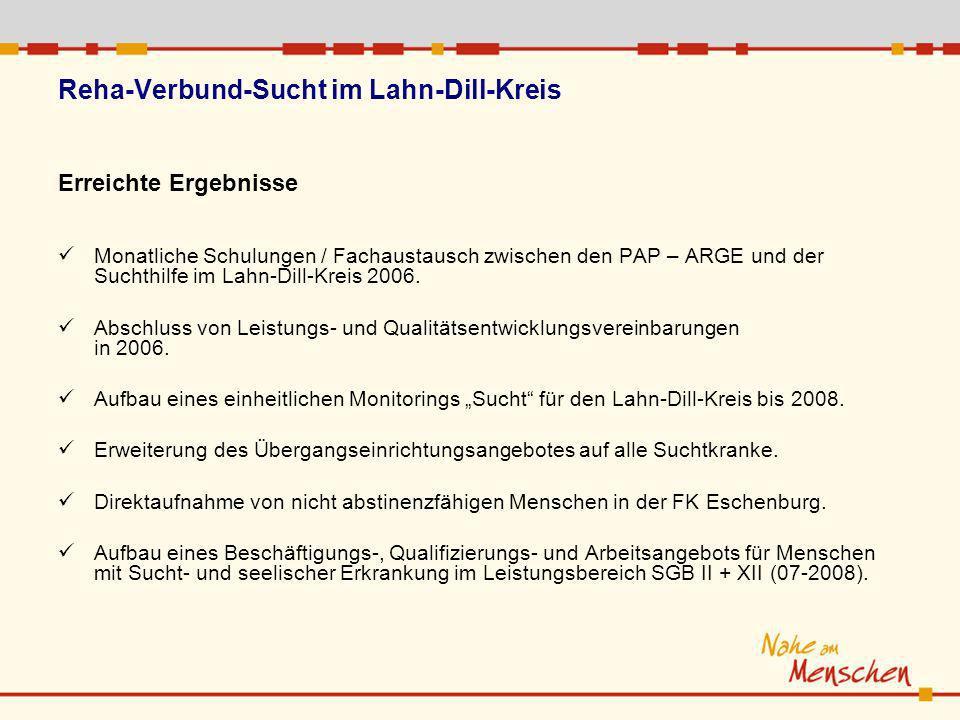Reha-Verbund-Sucht im Lahn-Dill-Kreis Erreichte Ergebnisse Monatliche Schulungen / Fachaustausch zwischen den PAP – ARGE und der Suchthilfe im Lahn-Di