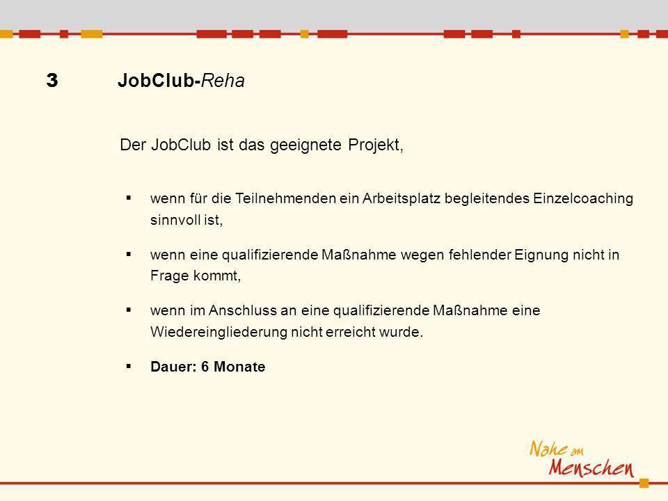 3 JobClub-Reha wenn für die Teilnehmenden ein Arbeitsplatz begleitendes Einzelcoaching sinnvoll ist, wenn eine qualifizierende Maßnahme wegen fehlender Eignung nicht in Frage kommt, wenn im Anschluss an eine qualifizierende Maßnahme eine Wiedereingliederung nicht erreicht wurde.
