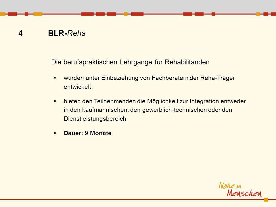 4 BLR-Reha wurden unter Einbeziehung von Fachberatern der Reha-Träger entwickelt; bieten den Teilnehmenden die Möglichkeit zur Integration entweder in