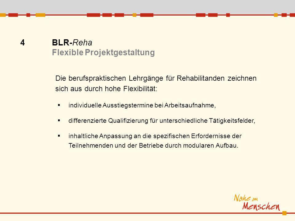 4 BLR-Reha Flexible Projektgestaltung Die berufspraktischen Lehrgänge für Rehabilitanden zeichnen sich aus durch hohe Flexibilität: individuelle Ausst