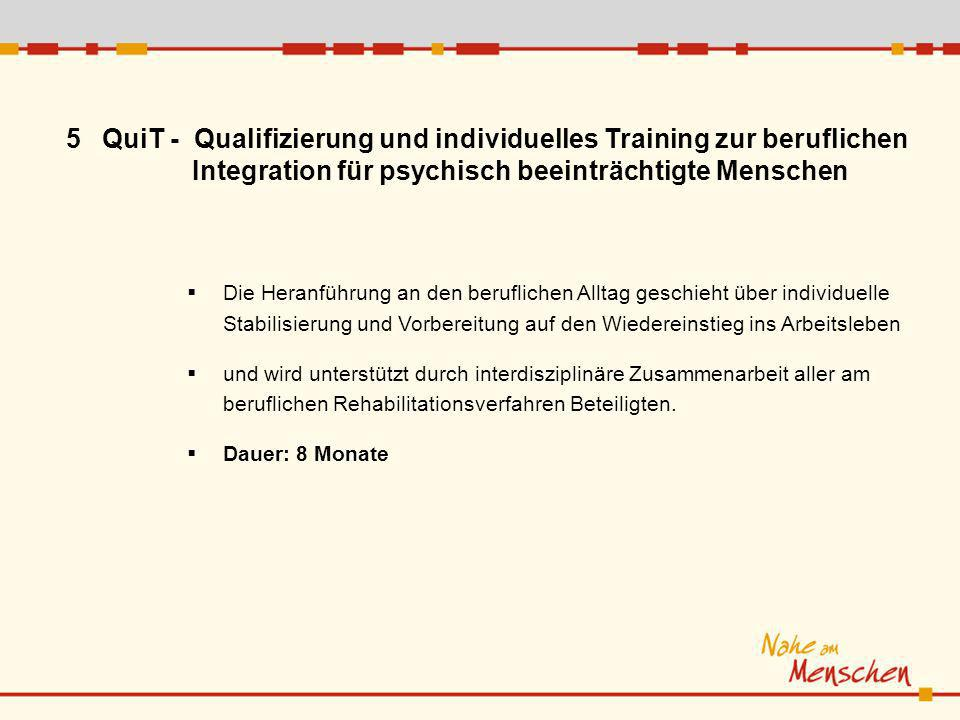 5QuiT - Qualifizierung und individuelles Training zur beruflichen Integration für psychisch beeinträchtigte Menschen Die Heranführung an den beruflich