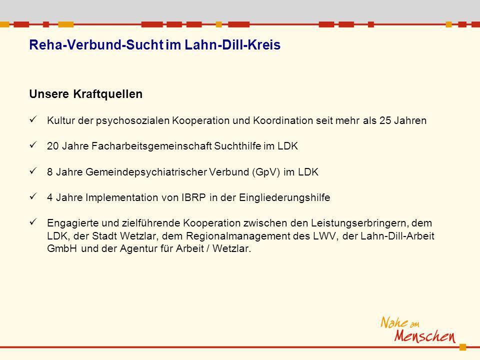 Unsere Kraftquellen Kultur der psychosozialen Kooperation und Koordination seit mehr als 25 Jahren 20 Jahre Facharbeitsgemeinschaft Suchthilfe im LDK 8 Jahre Gemeindepsychiatrischer Verbund (GpV) im LDK 4 Jahre Implementation von IBRP in der Eingliederungshilfe Engagierte und zielführende Kooperation zwischen den Leistungserbringern, dem LDK, der Stadt Wetzlar, dem Regionalmanagement des LWV, der Lahn-Dill-Arbeit GmbH und der Agentur für Arbeit / Wetzlar.