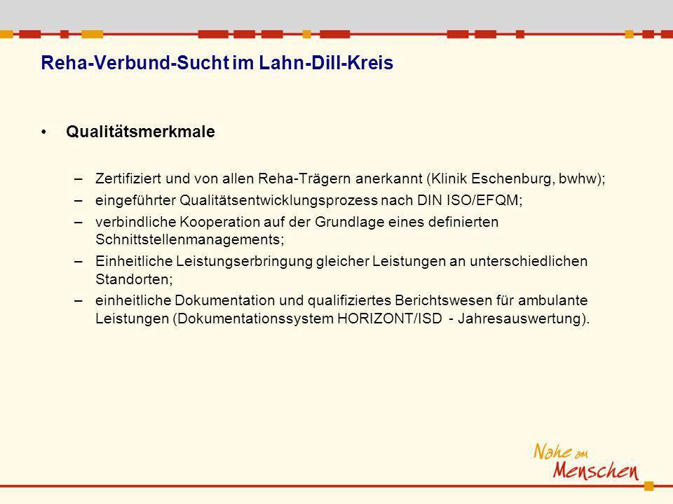 Reha-Verbund-Sucht im Lahn-Dill-Kreis Qualitätsmerkmale –Zertifiziert und von allen Reha-Trägern anerkannt (Klinik Eschenburg, bwhw); –eingeführter Qu