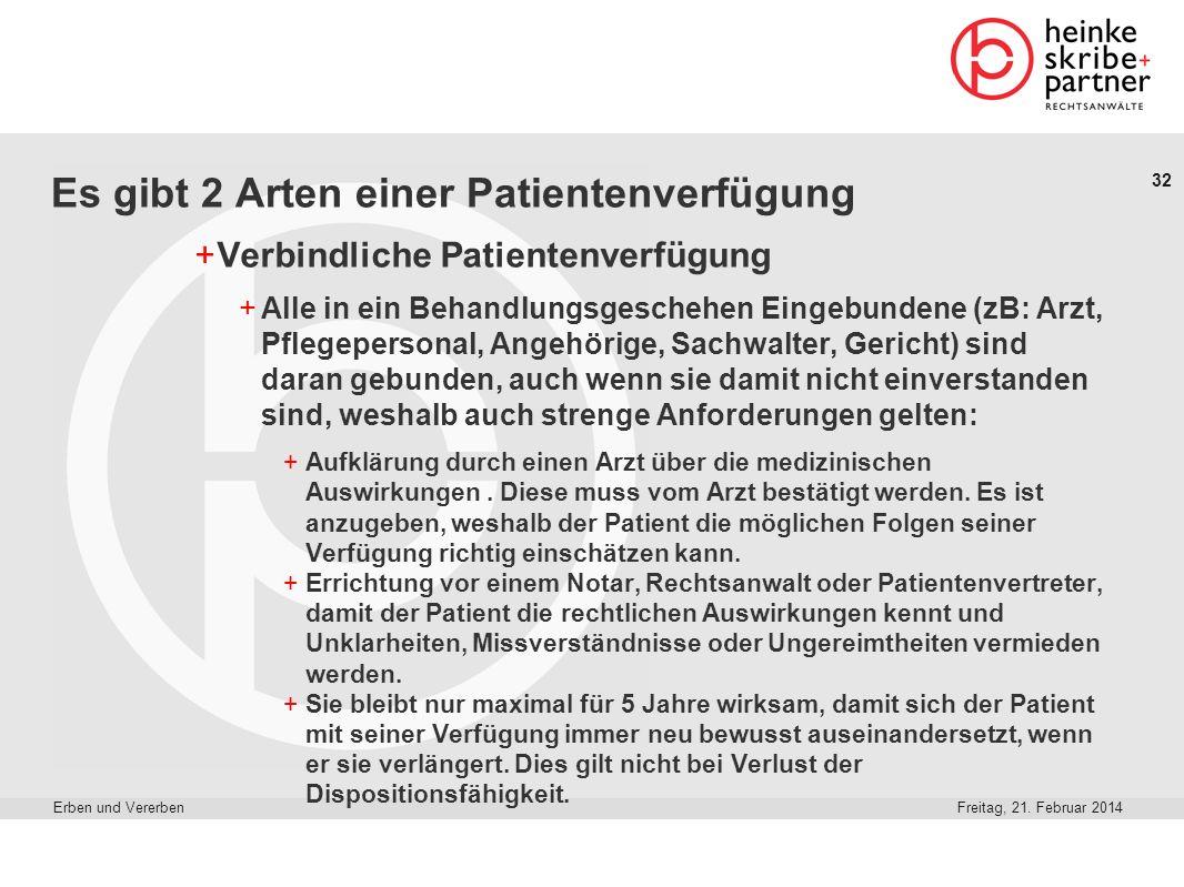 32 Freitag, 21. Februar 2014Erben und Vererben Es gibt 2 Arten einer Patientenverfügung +Verbindliche Patientenverfügung +Alle in ein Behandlungsgesch