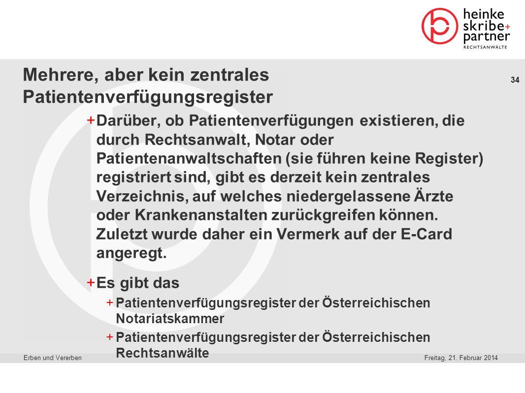 34 Freitag, 21. Februar 2014Erben und Vererben Mehrere, aber kein zentrales Patientenverfügungsregister +Darüber, ob Patientenverfügungen existieren,