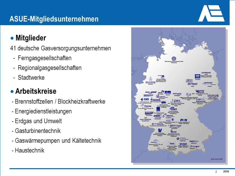 2006 2 ASUE-Mitgliedsunternehmen Mitglieder 41 deutsche Gasversorgungsunternehmen - Ferngasgesellschaften - Regionalgasgesellschaften - Stadtwerke Arb