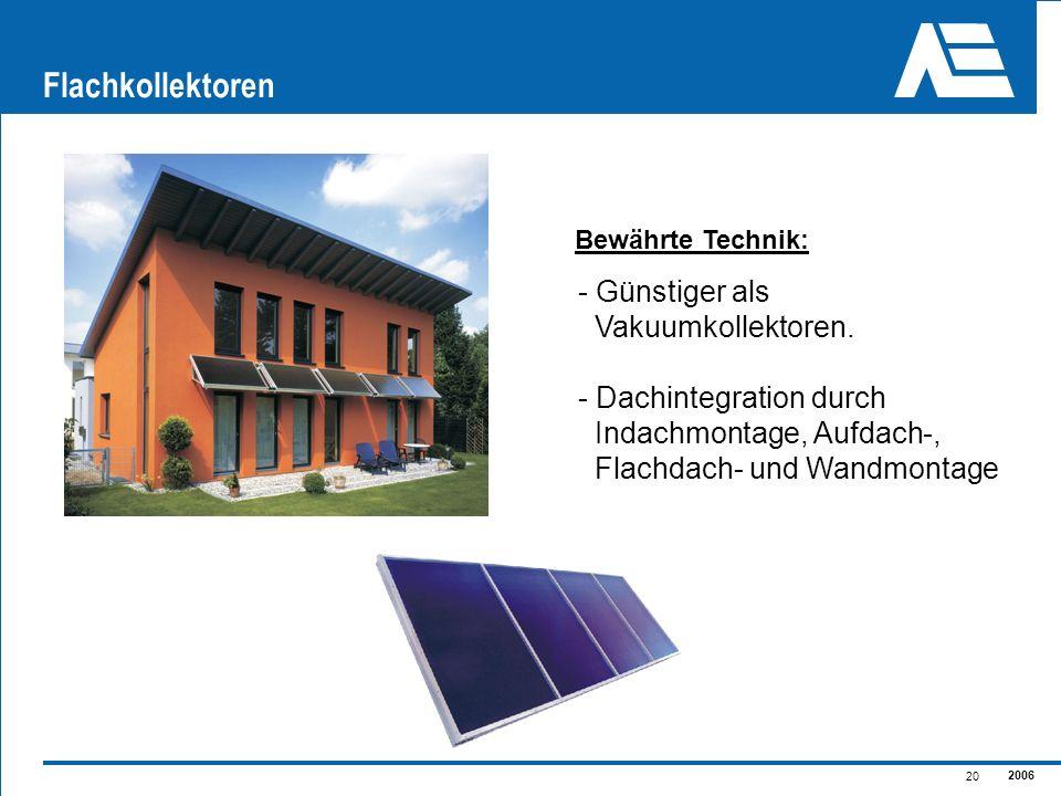 2006 20 Flachkollektoren - Günstiger als Vakuumkollektoren. - Dachintegration durch Indachmontage, Aufdach-, Flachdach- und Wandmontage Bewährte Techn
