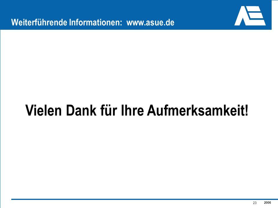 2006 23 Weiterführende Informationen: www.asue.de Vielen Dank für Ihre Aufmerksamkeit!