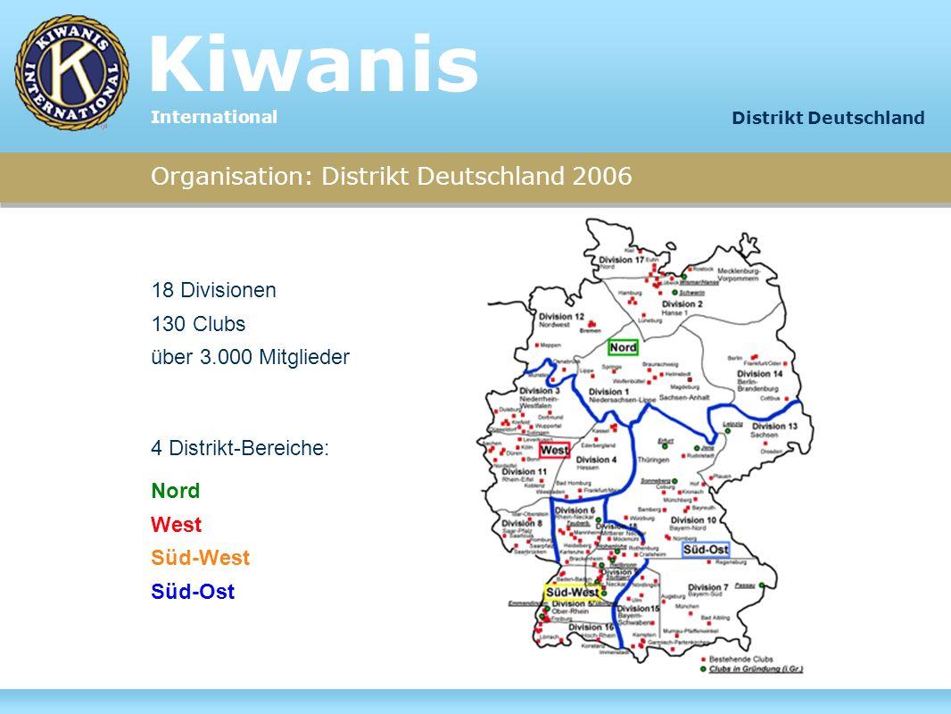 Organisation: Distrikt Deutschland 2006 18 Divisionen 130 Clubs über 3.000 Mitglieder 4 Distrikt-Bereiche: Nord West Süd-West Süd-Ost Kiwanis Internat
