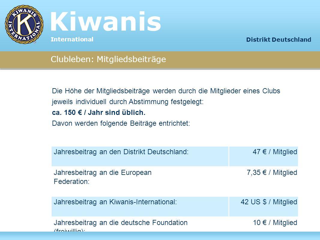 Clubleben: Mitgliedsbeiträge Jahresbeitrag an den Distrikt Deutschland: 47 / Mitglied Jahresbeitrag an die European Federation: 7,35 / Mitglied Jahres