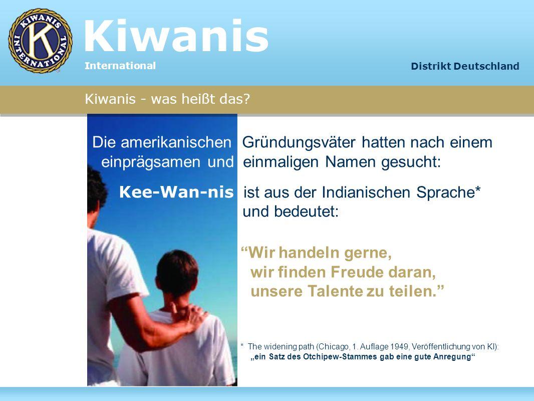 Kiwanis - was heißt das? Die amerikanischen Gründungsväter hatten nach einem einprägsamen und einmaligen Namen gesucht: Kee-Wan-nis ist aus der Indian