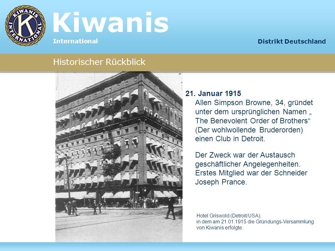 Historischer Rückblick Um bezüglich des Namens eine deutliche Abgrenzung zum amerikanischen Freimaurertum zu erzielen, besann man sich bereits im ersten Jahr darauf, die neue Organisation in Kiwanis umzutaufen.