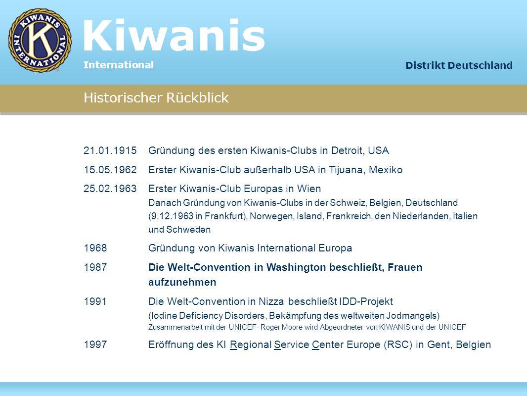 Organisation: Kiwanis International Region I:USA28 Distrikte Region II:Kanada, Karibik 2 Distrikte Region III:Europa11 Distrikte Region IV:Asien/Pazifik10 Distrikte Region V:Latein-Amerika 1 Distrikt Insgesamt:8.400 Clubs in 96 Ländern 52 Distrikte ca.