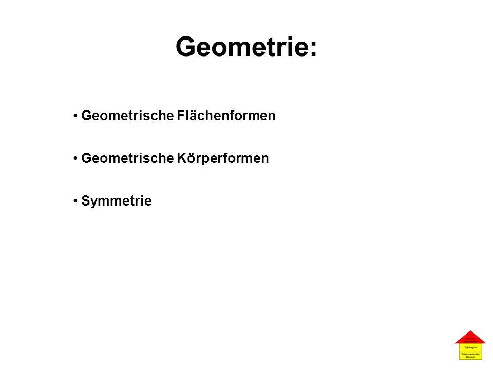 Geometrie: Geometrische Flächenformen Geometrische Körperformen Symmetrie