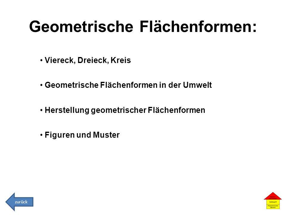 Geometrische Flächenformen: Viereck, Dreieck, Kreis Geometrische Flächenformen in der Umwelt Herstellung geometrischer Flächenformen Figuren und Muste