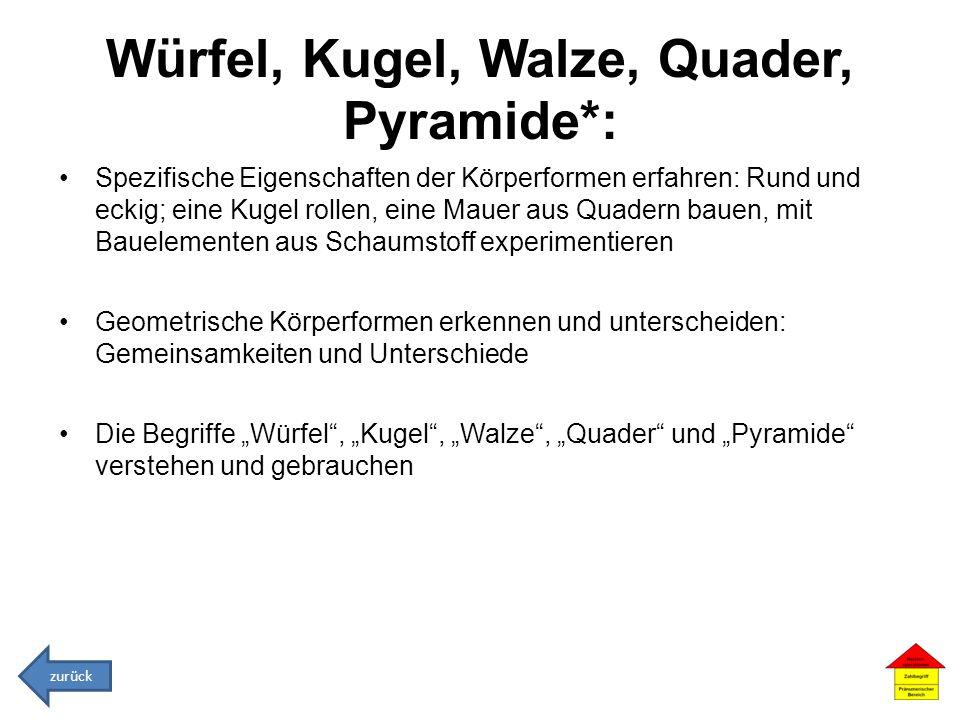 Würfel, Kugel, Walze, Quader, Pyramide*: Spezifische Eigenschaften der Körperformen erfahren: Rund und eckig; eine Kugel rollen, eine Mauer aus Quader