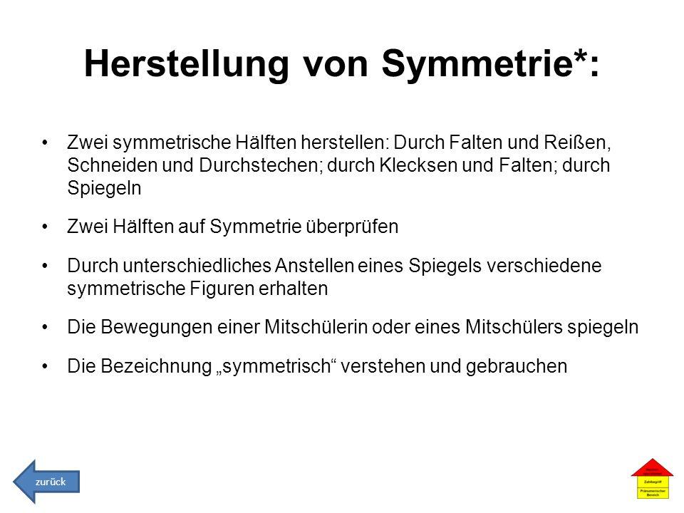 Herstellung von Symmetrie*: Zwei symmetrische Hälften herstellen: Durch Falten und Reißen, Schneiden und Durchstechen; durch Klecksen und Falten; durc