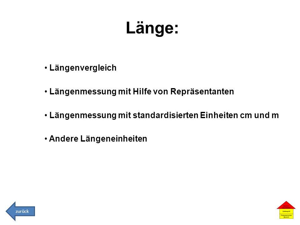 Länge: Längenvergleich Längenmessung mit Hilfe von Repräsentanten Längenmessung mit standardisierten Einheiten cm und m Andere Längeneinheiten zurück